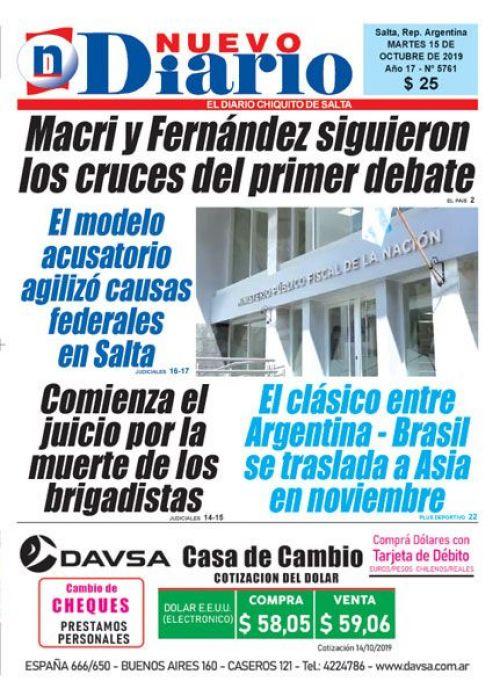 Tapa del 15/10/2019 Nuevo Diario de Salta