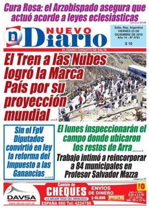 Tapa del 23/12/2016 Nuevo Diario de Salta