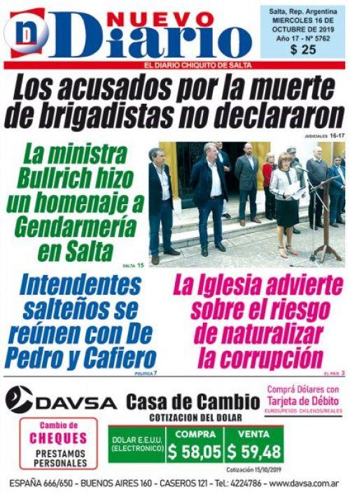 Tapa del 16/10/2019 Nuevo Diario de Salta