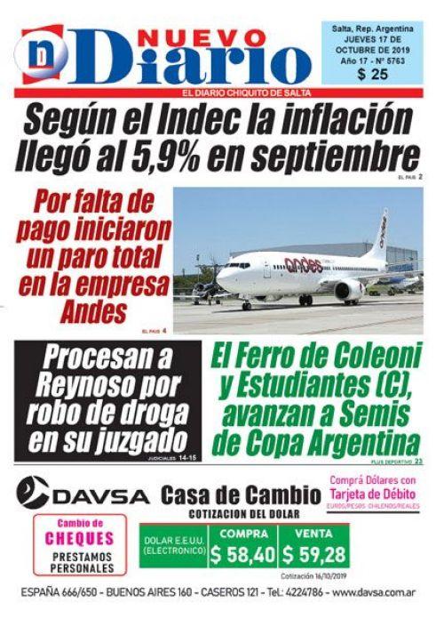 Tapa del 17/10/2019 Nuevo Diario de Salta
