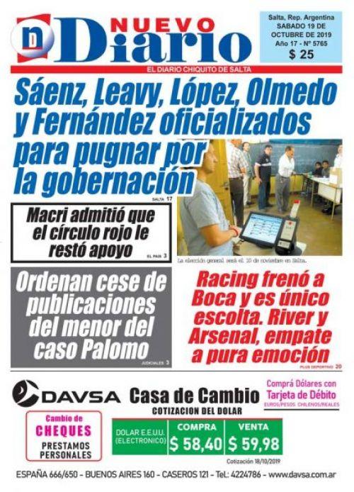 Tapa del 19/10/2019 Nuevo Diario de Salta