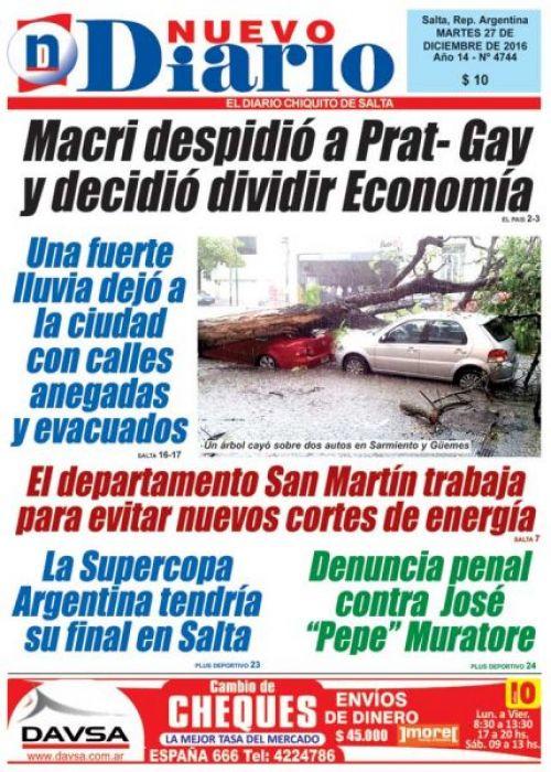 Tapa del 27/12/2016 Nuevo Diario de Salta