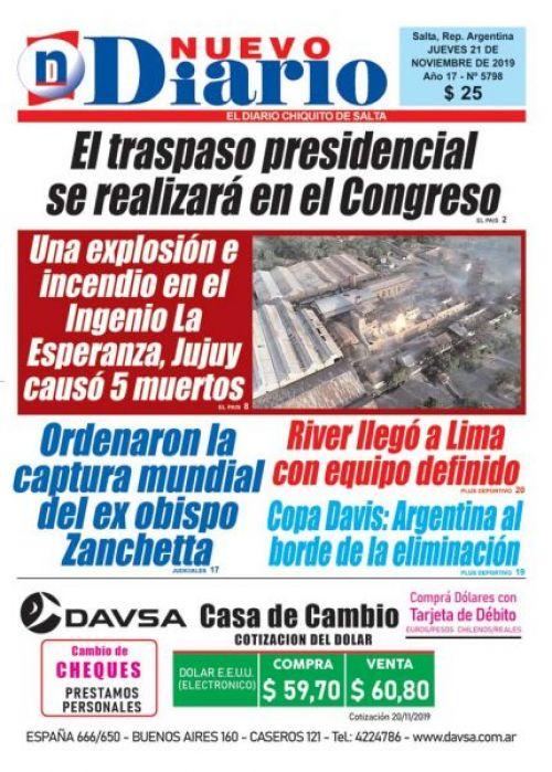 Tapa del 21/11/2019 Nuevo Diario de Salta