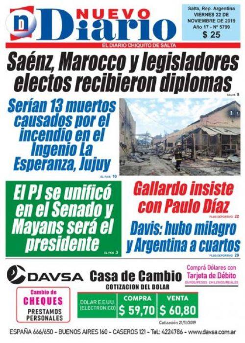 Tapa del 22/11/2019 Nuevo Diario de Salta
