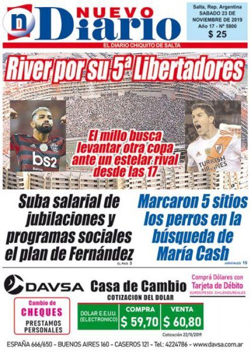 Tapa del 23/11/2019 Nuevo Diario de Salta