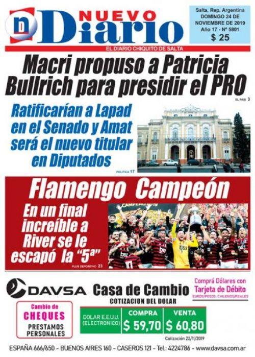 Tapa del 24/11/2019 Nuevo Diario de Salta