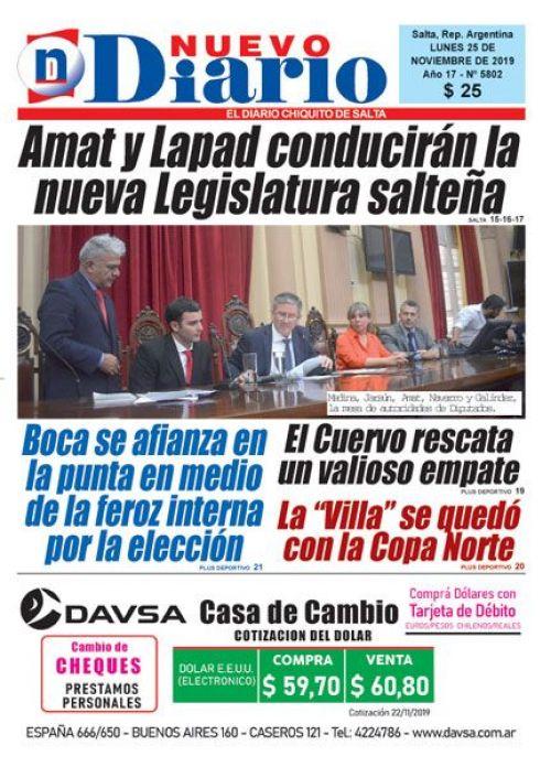 Tapa del 25/11/2019 Nuevo Diario de Salta