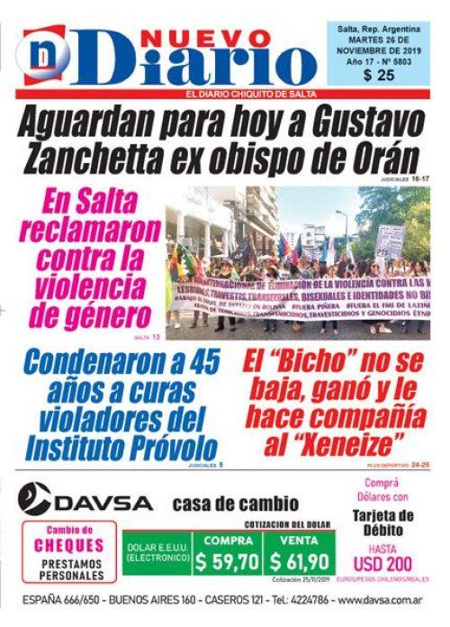 Tapa del 26/11/2019 Nuevo Diario de Salta