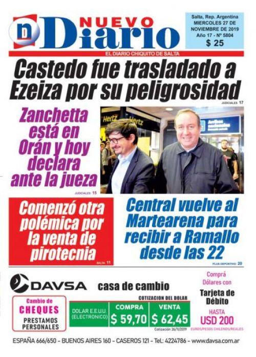 Tapa del 27/11/2019 Nuevo Diario de Salta