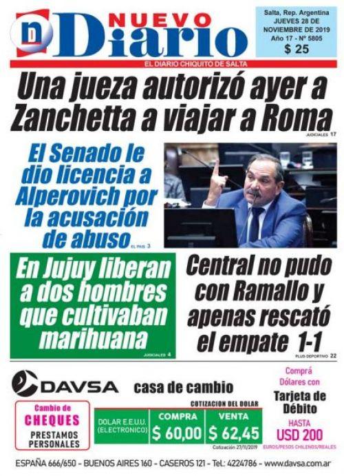 Tapa del 28/11/2019 Nuevo Diario de Salta