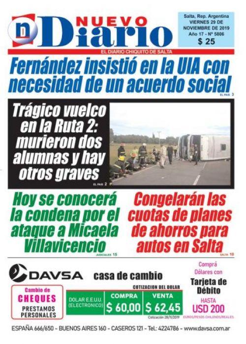 Tapa del 29/11/2019 Nuevo Diario de Salta