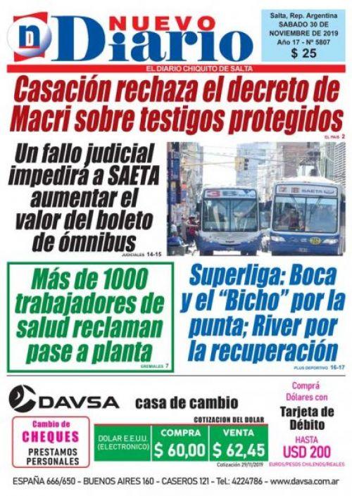 Tapa del 30/11/2019 Nuevo Diario de Salta