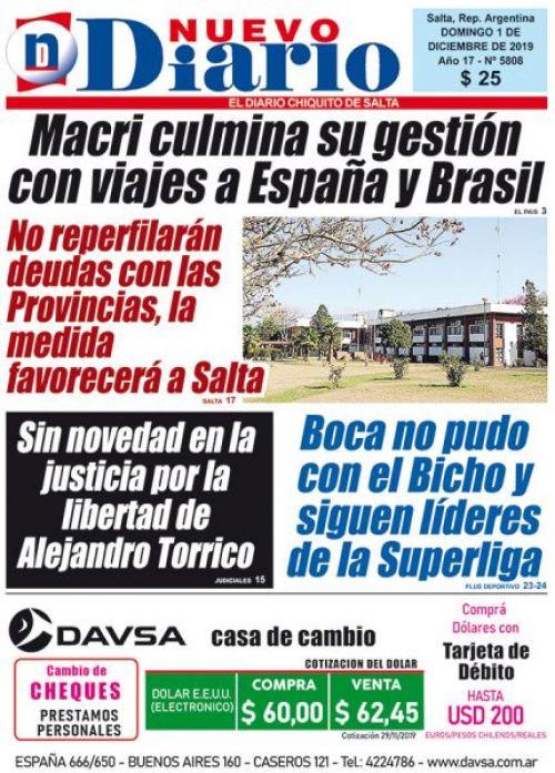Tapa del 01/12/2019 Nuevo Diario de Salta