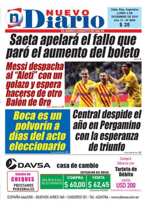 Tapa del 02/12/2019 Nuevo Diario de Salta