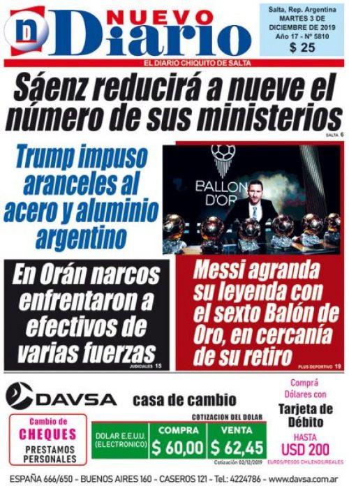 Tapa del 03/12/2019 Nuevo Diario de Salta