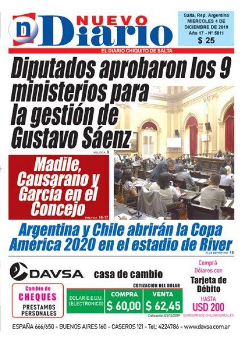 Tapa del 04/12/2019 Nuevo Diario de Salta