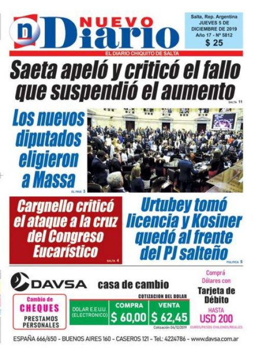 Tapa del 05/12/2019 Nuevo Diario de Salta