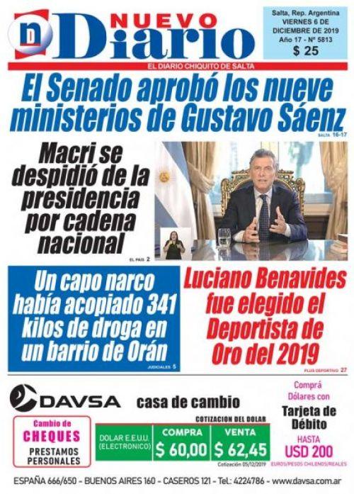 Tapa del 06/12/2019 Nuevo Diario de Salta