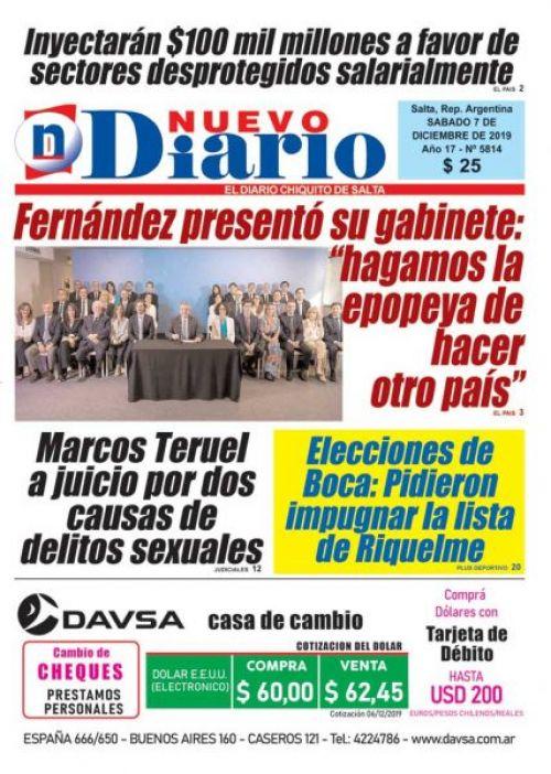 Tapa del 07/12/2019 Nuevo Diario de Salta