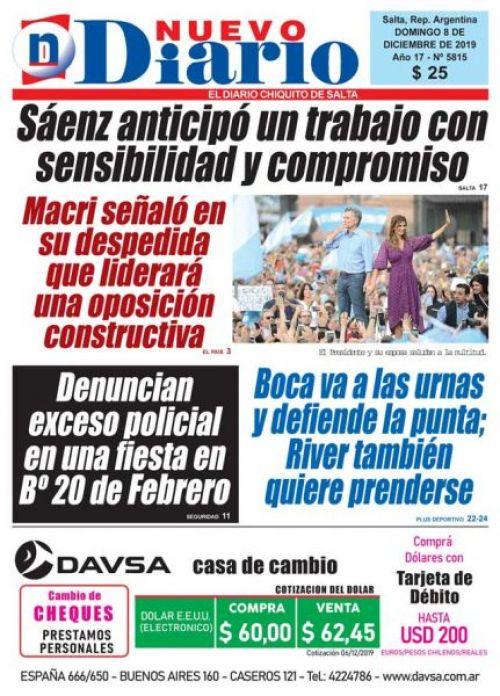 Tapa del 08/12/2019 Nuevo Diario de Salta
