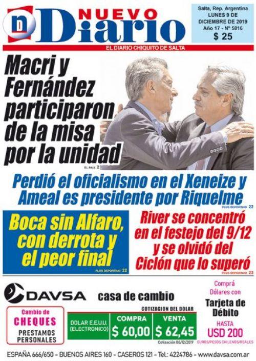 Tapa del 09/12/2019 Nuevo Diario de Salta