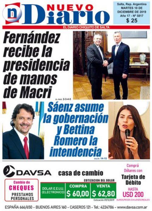 Tapa del 10/12/2019 Nuevo Diario de Salta