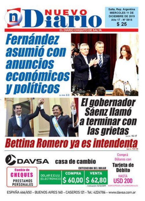 Tapa del 11/12/2019 Nuevo Diario de Salta