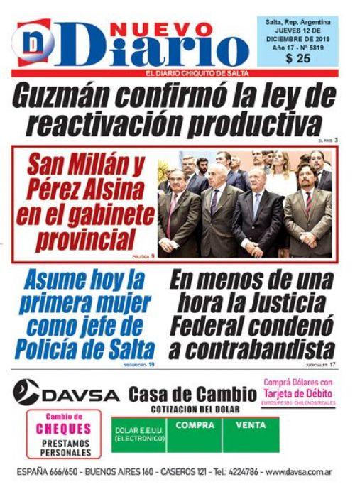 Tapa del 12/12/2019 Nuevo Diario de Salta