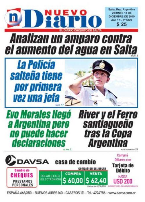 Tapa del 13/12/2019 Nuevo Diario de Salta