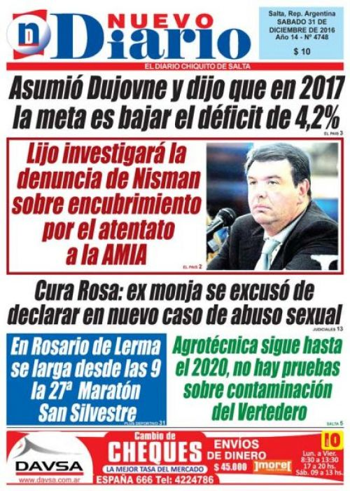 Tapa del 31/12/2016 Nuevo Diario de Salta