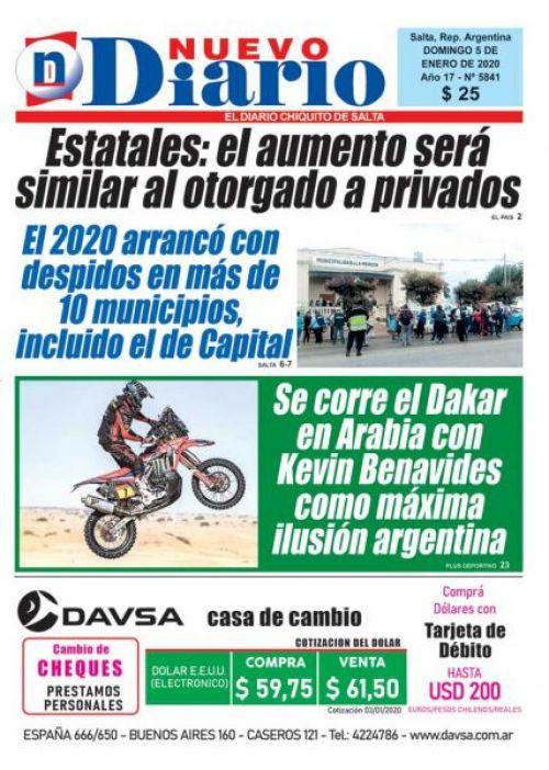 Tapa del 05/01/2020 Nuevo Diario de Salta