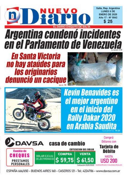 Tapa del 06/01/2020 Nuevo Diario de Salta