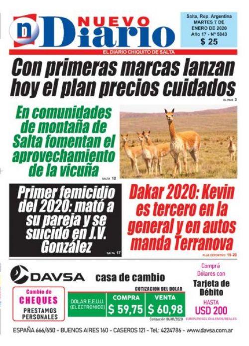 Tapa del 07/01/2020 Nuevo Diario de Salta