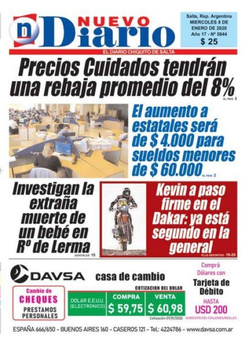 Tapa del 08/01/2020 Nuevo Diario de Salta