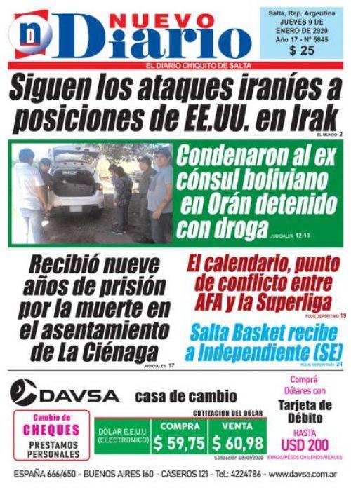 Tapa del 09/01/2020 Nuevo Diario de Salta