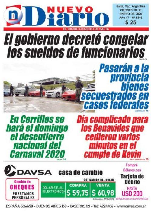 Tapa del 10/01/2020 Nuevo Diario de Salta