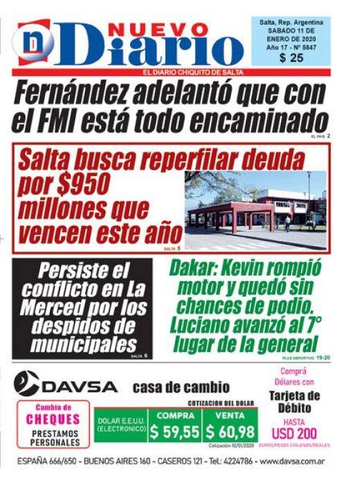 Tapa del 11/01/2020 Nuevo Diario de Salta