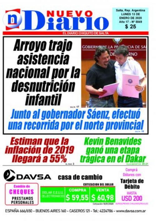Tapa del 13/01/2020 Nuevo Diario de Salta