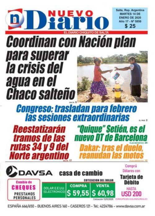 Tapa del 14/01/2020 Nuevo Diario de Salta