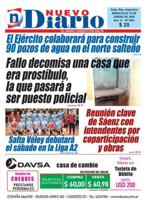 Tapa del 15/01/2020 Nuevo Diario de Salta