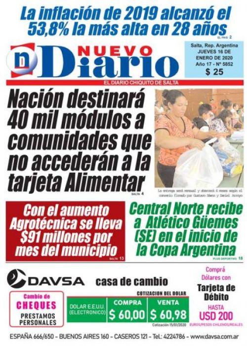 Tapa del 16/01/2020 Nuevo Diario de Salta