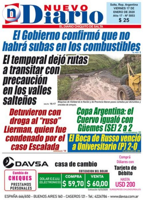 Tapa del 17/01/2020 Nuevo Diario de Salta