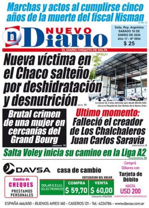 Tapa del 18/01/2020 Nuevo Diario de Salta