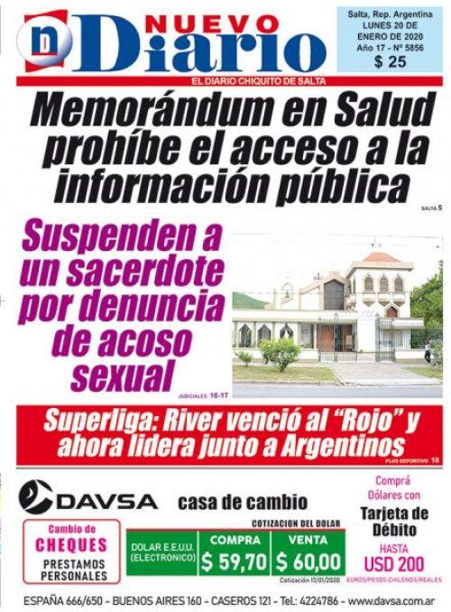 Tapa del 20/01/2020 Nuevo Diario de Salta
