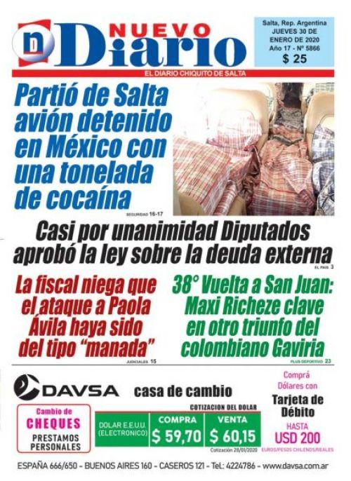 Tapa del 30/01/2020 Nuevo Diario de Salta