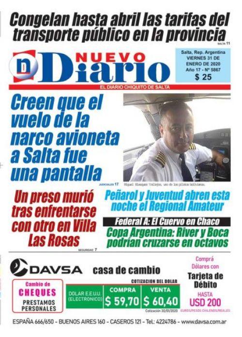Tapa del 31/01/2020 Nuevo Diario de Salta