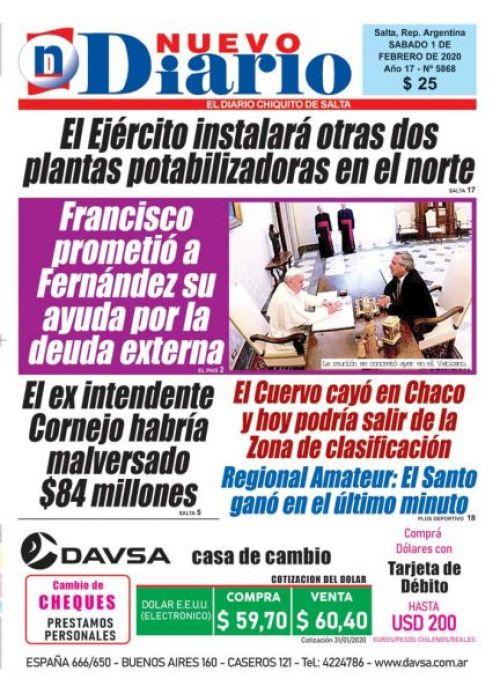 Tapa del 01/02/2020 Nuevo Diario de Salta