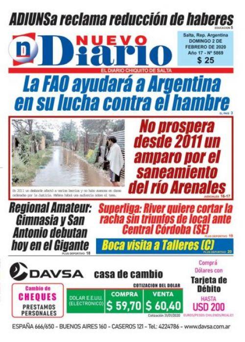 Tapa del 02/02/2020 Nuevo Diario de Salta