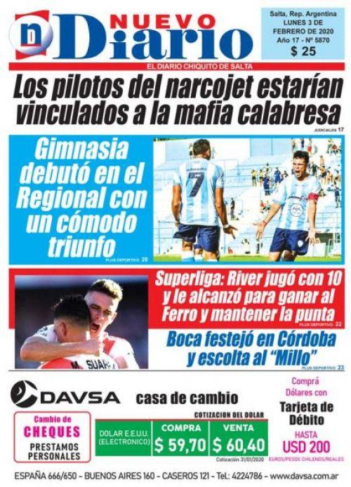Tapa del 03/02/2020 Nuevo Diario de Salta