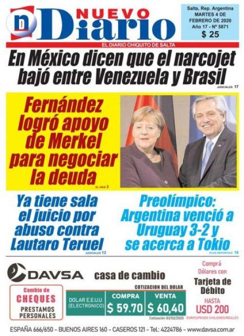 Tapa del 04/02/2020 Nuevo Diario de Salta